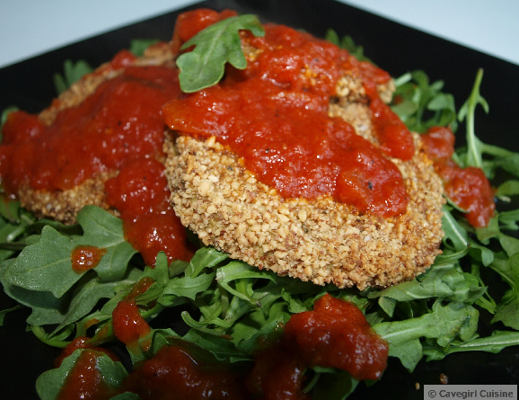 """Fried"" Eggplant Marinara (on a bed of greens)"