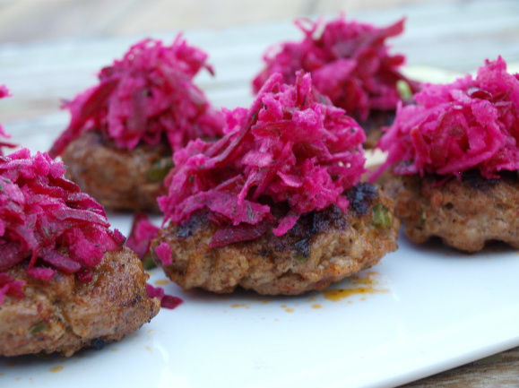 Chorizo Sliders with a Jicama and Beet Slaw